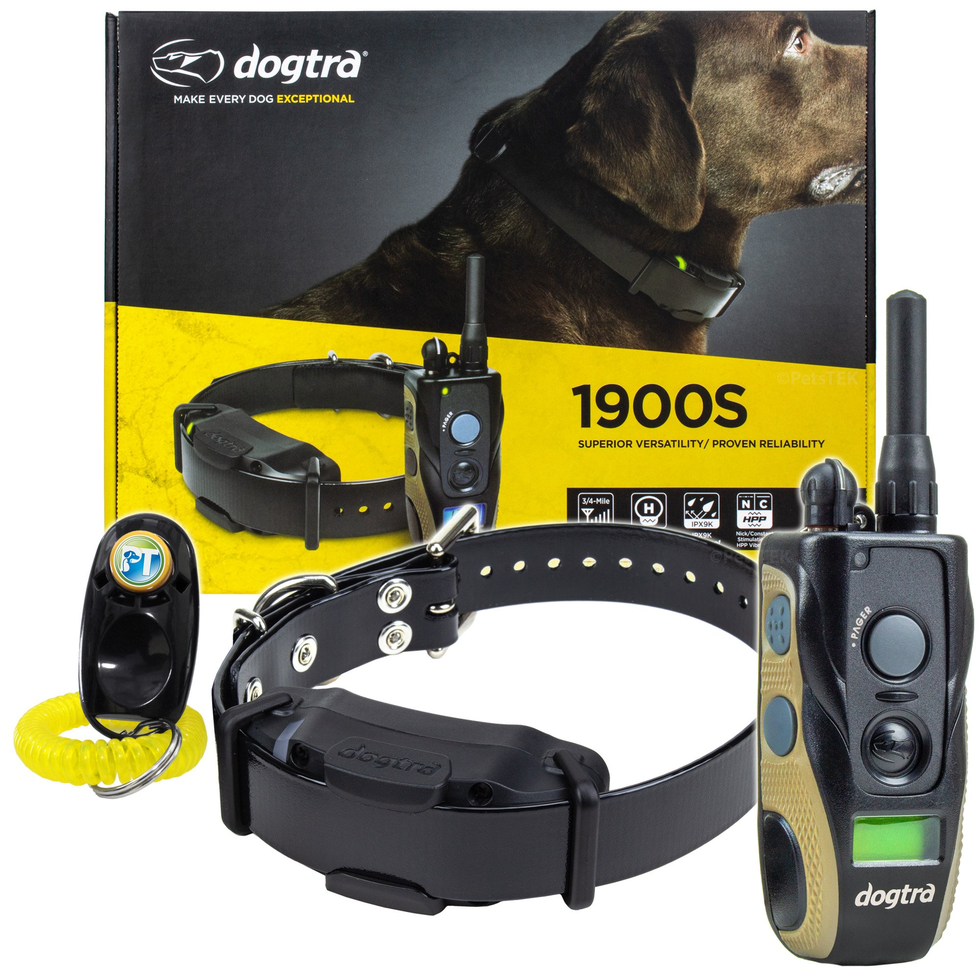 Dogtra 1900S / 1902S Remote Training Collar – 3/4 Mile Range, Waterproof, Rechargeable, Vibration – Includes PetsTEK Dog Training Clicker