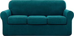 subrtex Sofa Cover High Stretch Couch Slipcover with Separate Cushion Couch Cover Soft Loveseat Slipcover Furniture Protector Machine Washable(Turquoise,Large)