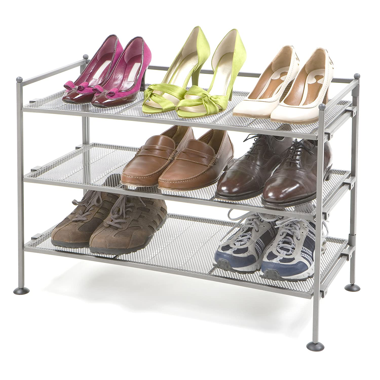 $33.99 (was $53) Seville Classics 3-Tier Iron Mesh Utility Shoe Rack, Satin Pewter