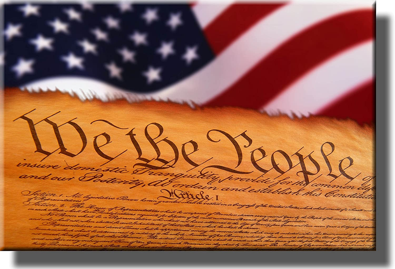 United States Constitution and Flag Picture on Stretched Canvas Wall Decor Ready to Hang!. We The People.