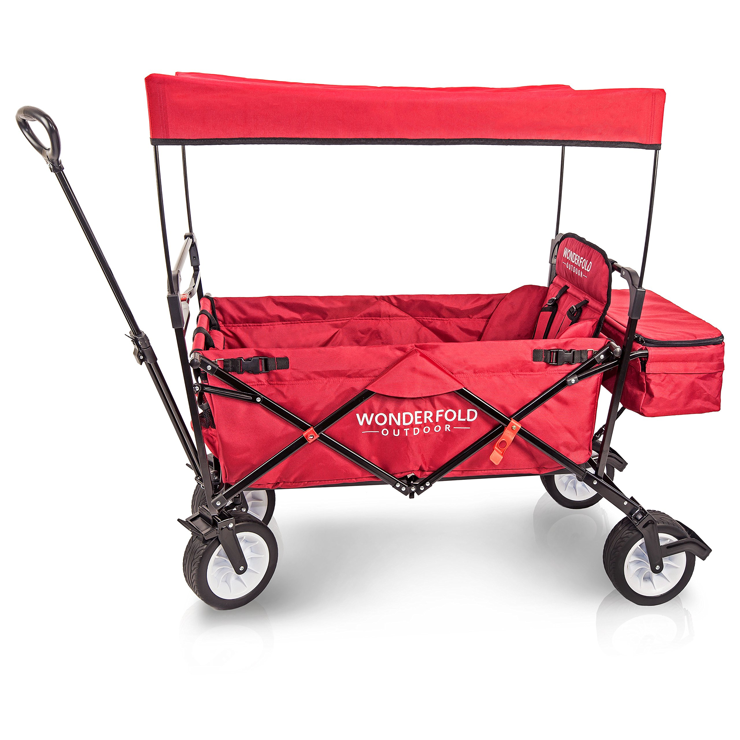 WonderFold Outdoor Premium Model Collapsible Folding Wagon With Canopy, Stand, One Pedal Brake, Wide EVA Tire & One Wagon Seat with 5-Point Seat-Belt (Ruby Red)