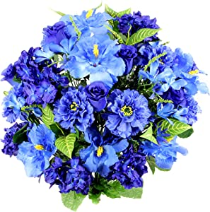 Admired By Nature Artificial Hibiscus with Rosebud, Freesias & Fillers Flower Mixed Bush for Home, Office, Restaurant & Wedding Arrangement, Blue, 36 Stems