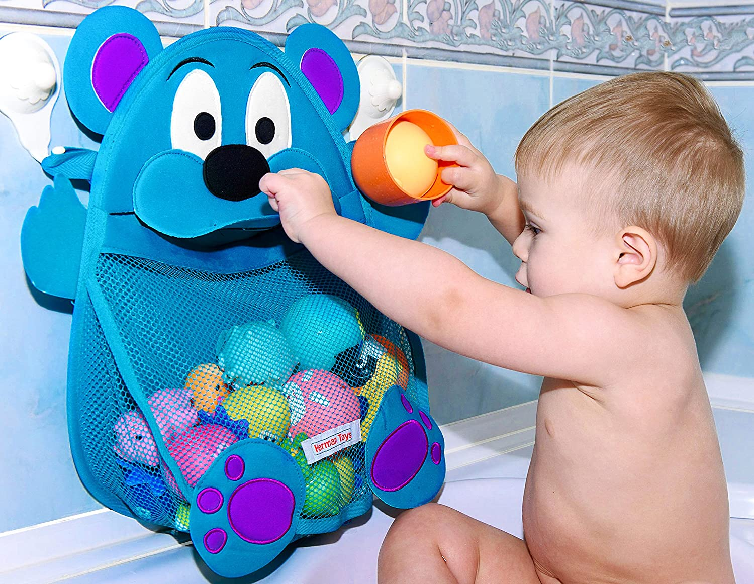 Herman Bear Baby Bath Toy Organizer - Toddler Bathtub Toy Storage Holder - Bathroom Toy Net Bag + heavy duty suction cups, Blue