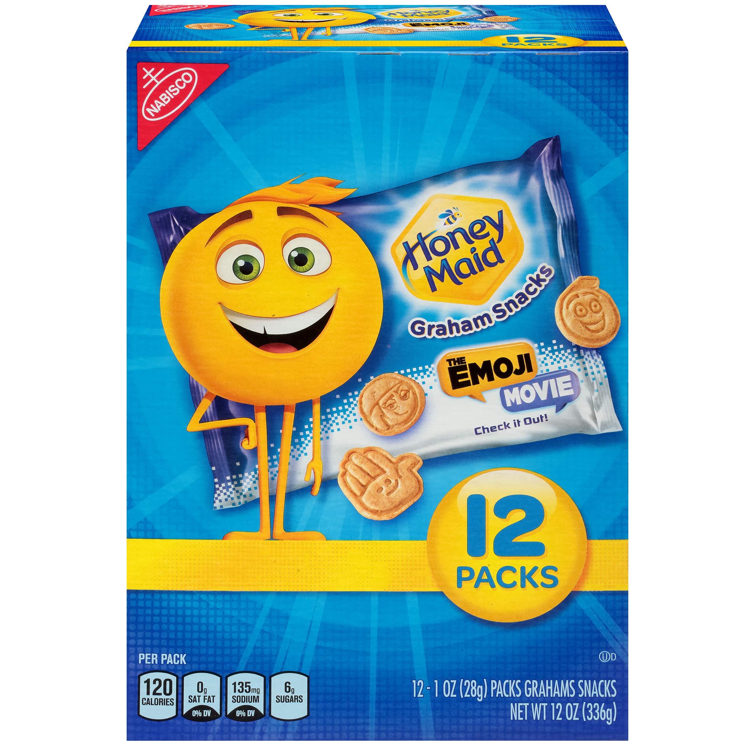Honey Maid Graham Crackers - The Emoji Movie - Snack Packs, 12 Count Box, 12 Ounce