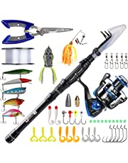RUNCL Telescopic Fishing Rod & Reel Combos, Spinning Rod & Reel Combo, Carbon Fiber Fishing Pole & Reel, Complete Fishing Starter Kit Includes Fishing Lures Lines Hooks Pliers