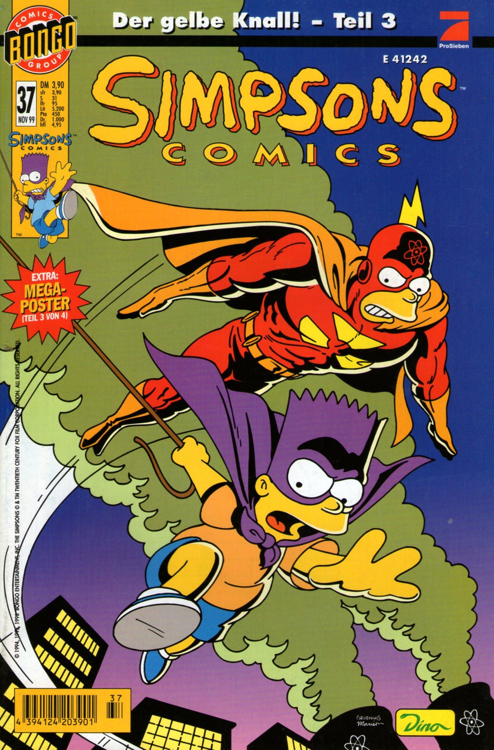 SIMPSONS Comics   37   Der Gelbe Knall   Comic Teil 3   Inkl. Mega Poster   DINO  Simpsons