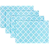 """Placemats, Indoor/Outdoor Woven Quatrefoil Kitchen Dining Table Mats by Living Fashions, Made with Special Cotton Blend For Easy Wash and Dry, Placemats Set of 4, Size 13"""" x 19"""", Color Teal Blue"""