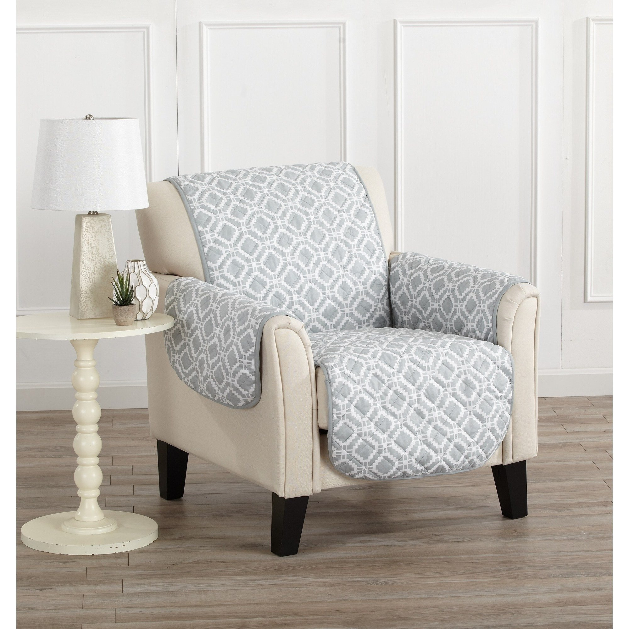 MN 1 Piece Steel Grey Geometric Chair Protector, Gray Medallion Diamond Shape Pattern Circle Dot Ikat Jacquard Modern Sleek Trendy Couch Protection Cover Pets Animals Covers, Polyester