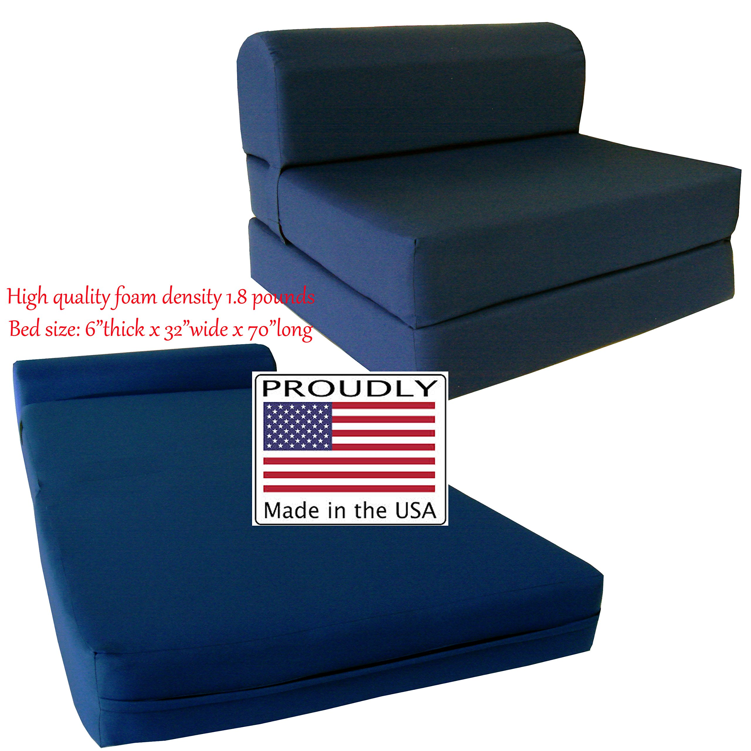 Navy Sleeper Chair Folding Foam Bed Sized 6'' Thick X 32'' Wide X 70'' Long, Studio Guest Foldable Chair Beds, Foam Sofa, Couch, High Density Foam 1.8 Pounds. by D&D Futon Furniture
