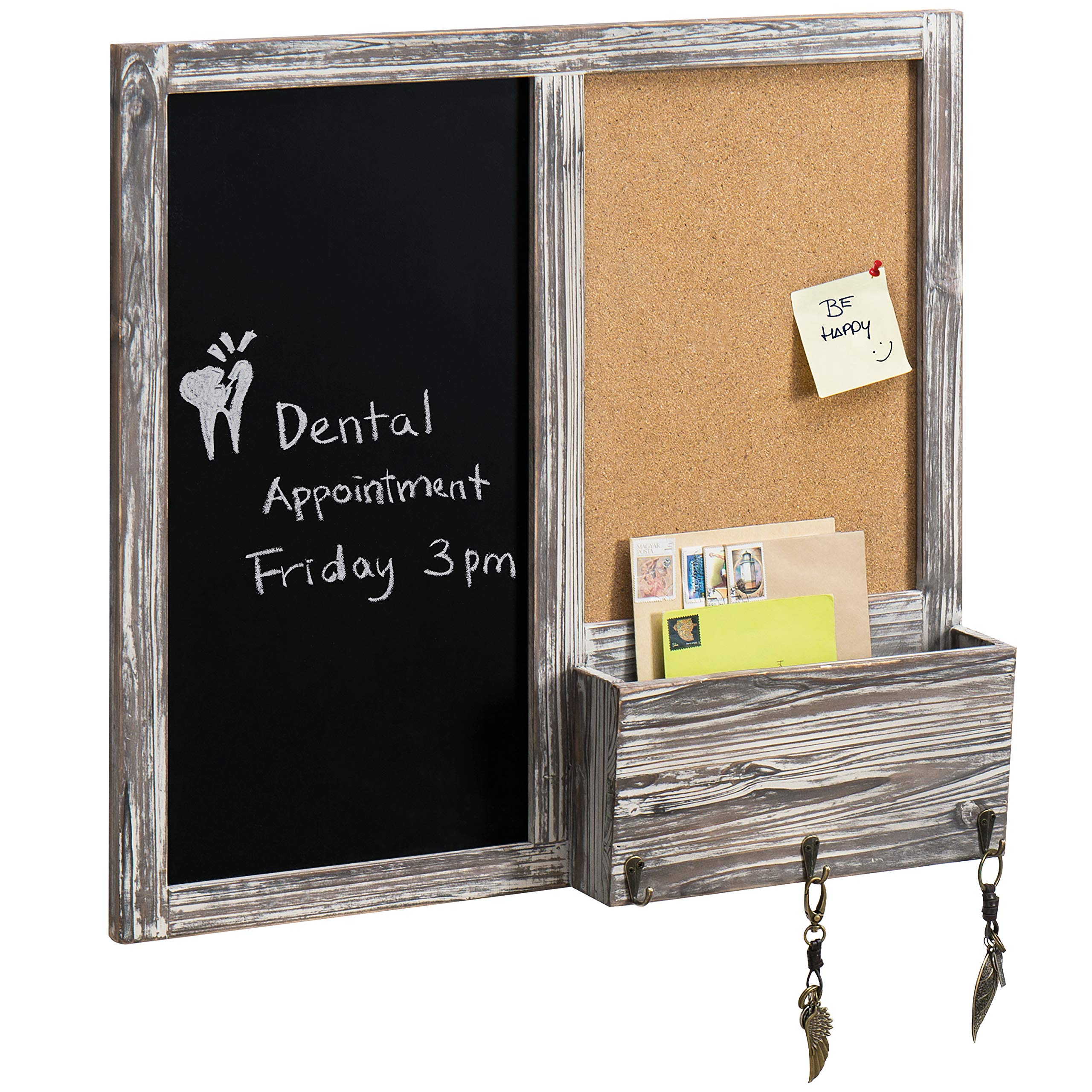 MyGift Torched Wood Wall Mounted Chalkboard & Corkboard w/Mail Sorter & 3 Hooks by MyGift