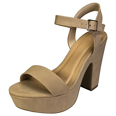 1d7c85e565cc BAMBOO Women s One Band Chunky Heel Platform Sandal with Quarter Strap