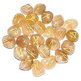 Crocon 25 Pcs Yellow Aventurine Rune Stones Set