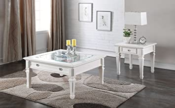 Charmant ACME Adalyn White Coffee Table With Display Glass Top