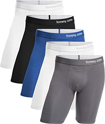 6d93f03b3db4 Tommy John Men's Cool Cotton Boxer Briefs - 5 Pack - No Ride-Up Comfortable