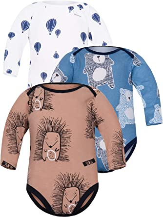 Sibinulo Baby Boys Baby Girls Body Long Sleeves Mix Pack of 3