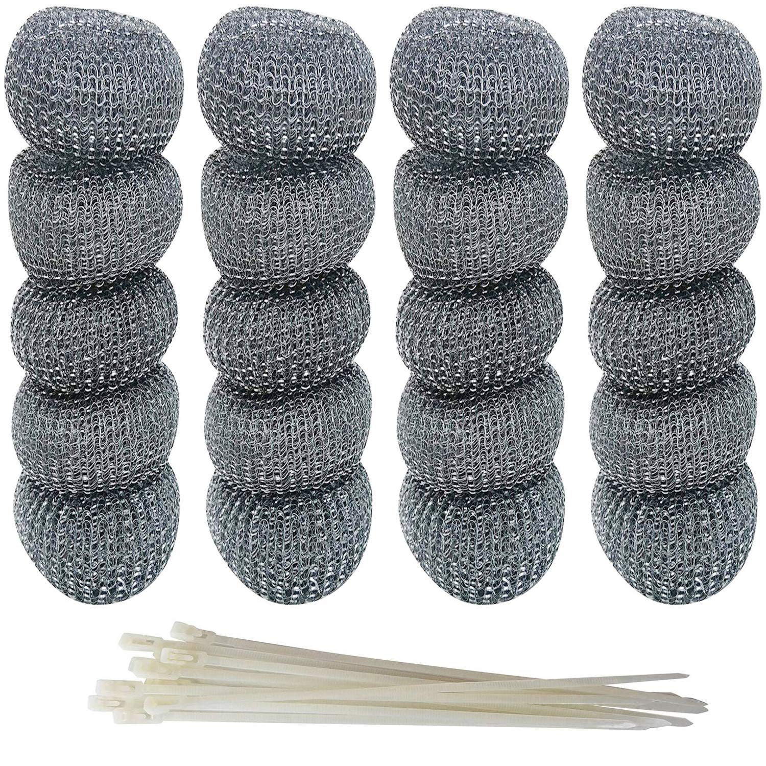 MANSHU 48 Pieces Galvanized Iron Washing Machine Lint Traps Snare Laundry Mesh Washer Hose Filter with 48 Pieces Cable Ties.