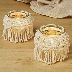 zennd. Macrame Candle Holder | Decorative Tealight Holder - Boho Tealight Candle Holder - Vintage Rustic Boho Decor (1)