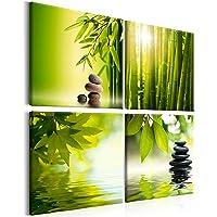 murando - Cuadro en Lienzo Bambu Piedra 40x40 cm - Impresión de 4 Piezas Material Tejido no Tejido Impresión Artística…