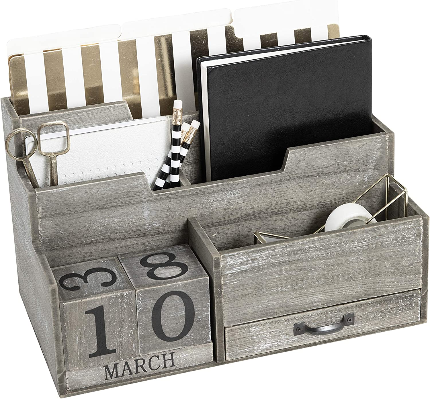 Dark Wooden Mail Organizer Desktop with Block Calendar – Mail Sorter Countertop Organizer – Desk Decorations for Women Office