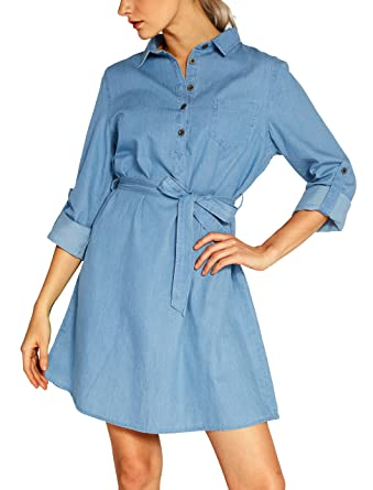 36ae3bd6f4 Urban CoCo Women s Tie-Belt Shirtdress Denim Blouse Dress at Amazon ...
