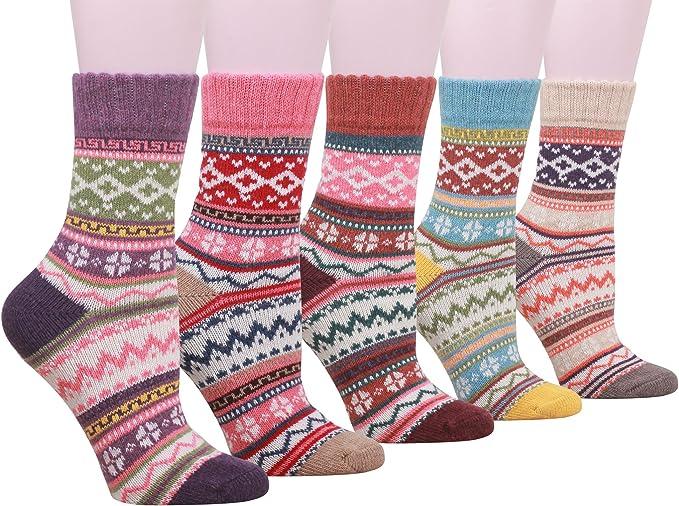 1 Pair Women Ladies Winter Socks Ankle High Wool Blend Warm Sock Christmas GW