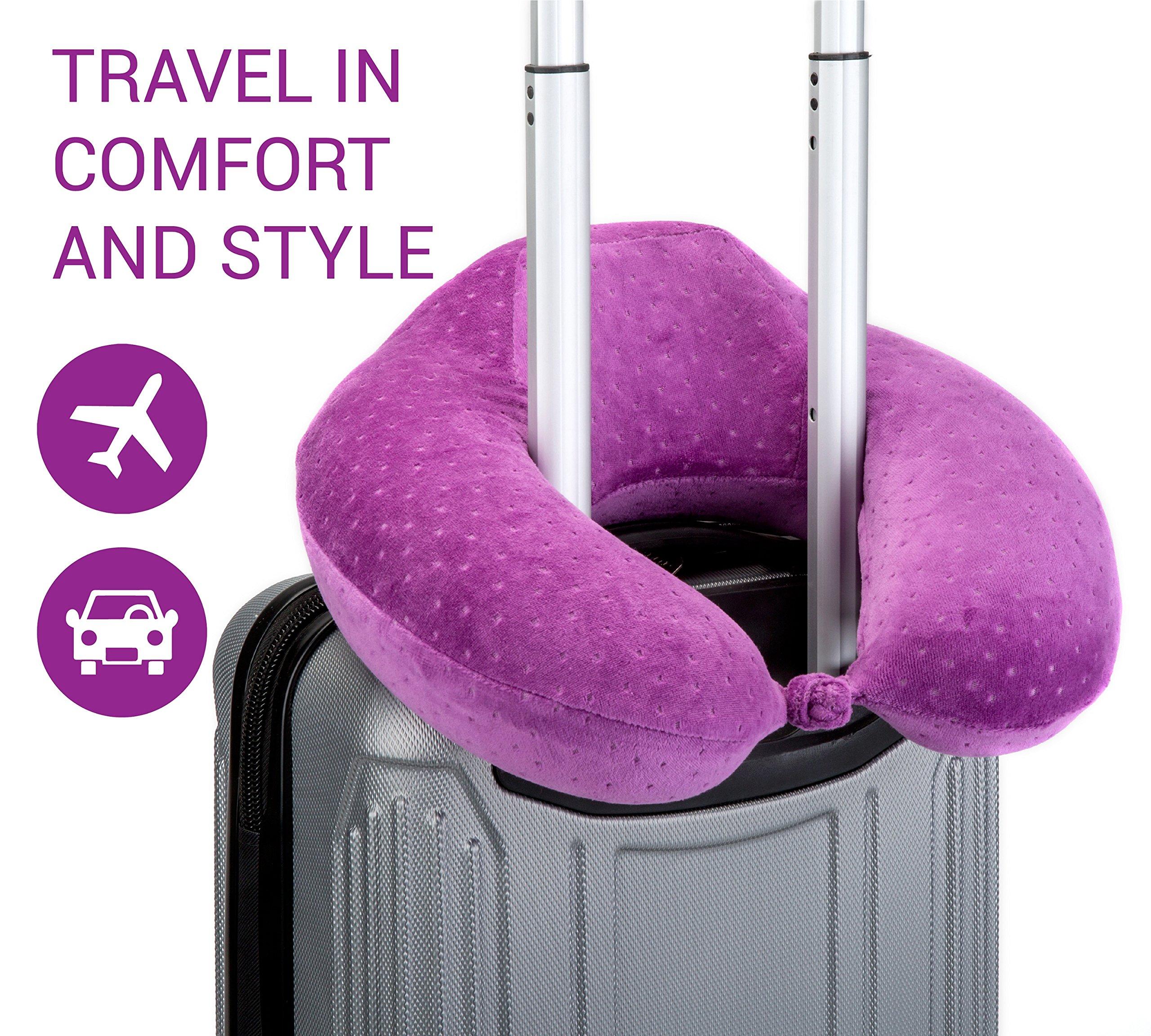 OPUL Almohada Viaje de Espuma Viscoelastica - Reposacabezas Patentado para Vuelos y Viajes, con una Funda Suave de Terciopelo Transpirable, Fácil de Lavar Almohada Cervical - Neck Pillow