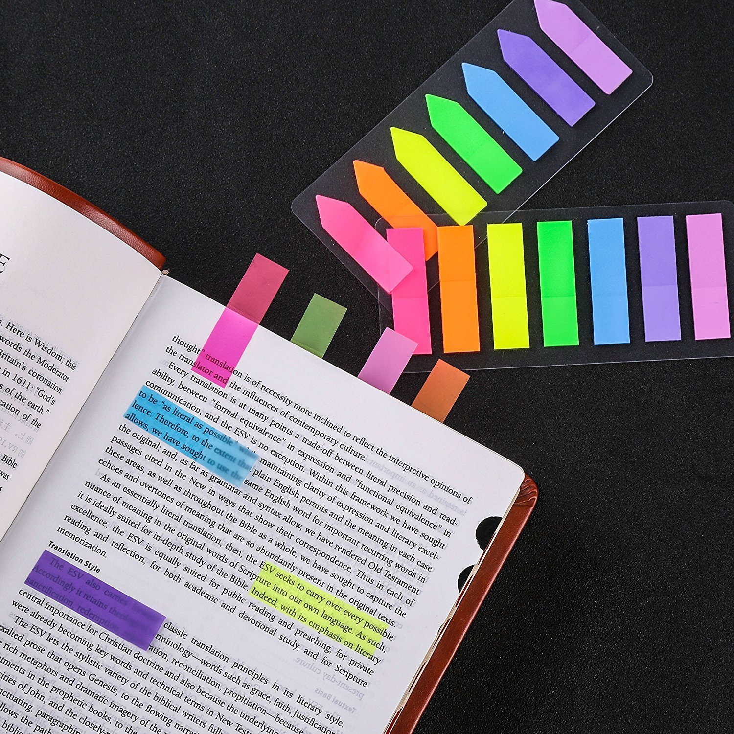 560pcs Neon Page Markers Colored Index Tabs Fluorescent Sticky Note for Page Marker,/4 Sets Index Tabs