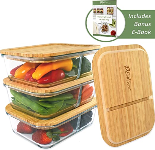 High Quality Lunch Box  2 Compartments With  Lid Meal Prep Food Container Tool