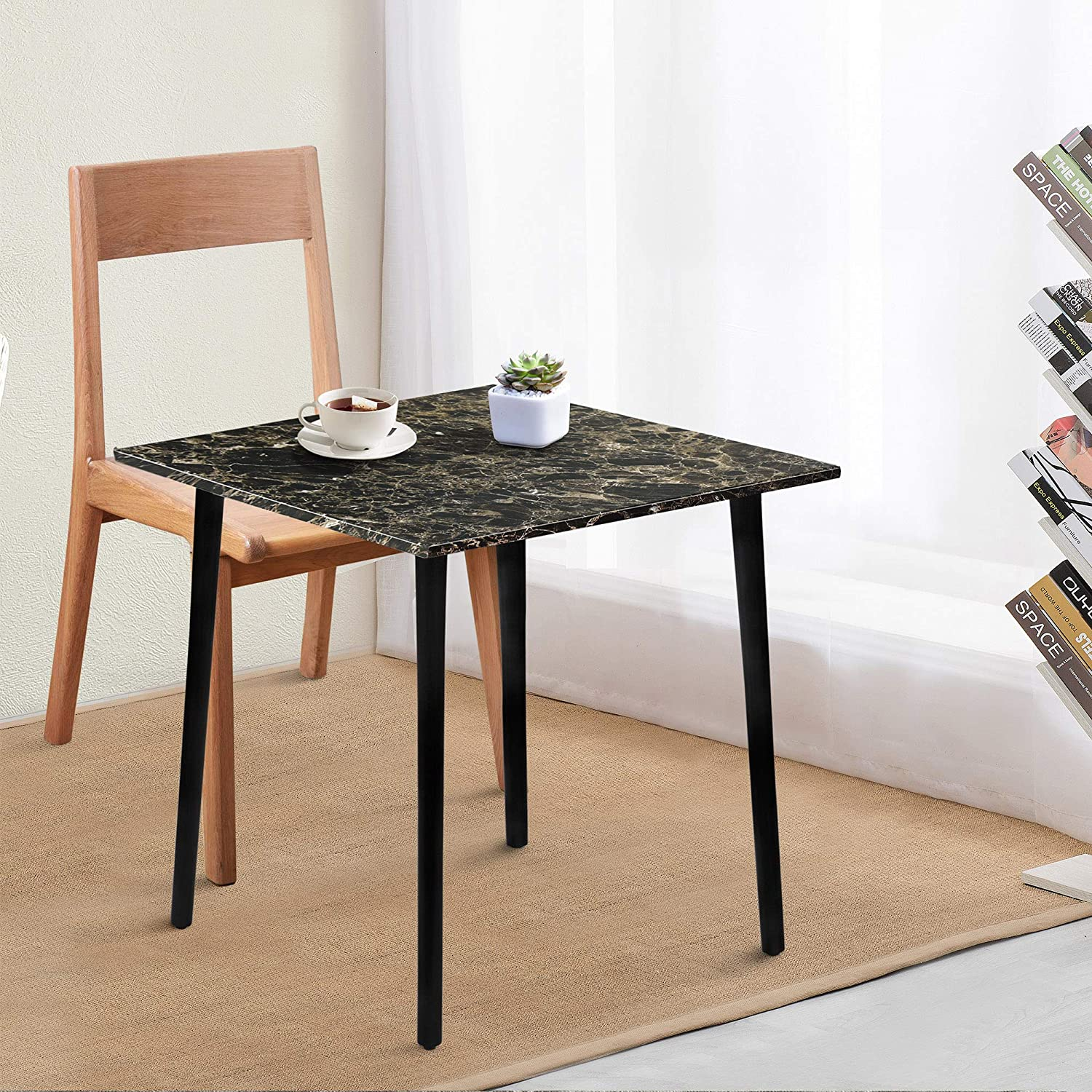 Amazon Com Primasleep Square Dining Table With Faux Marble Top Black Brown Tables