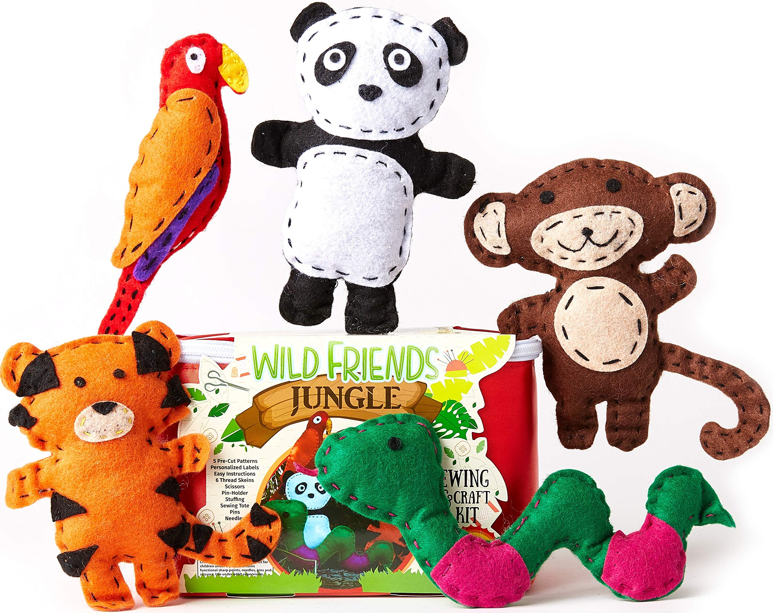 Four Seasons Crafting Kids Sewing Kit and Animal Crafts - Fun DIY Kid Craft and Sew Kits for Girls and Boys 120 Piece Set by Four Seasons Crafting