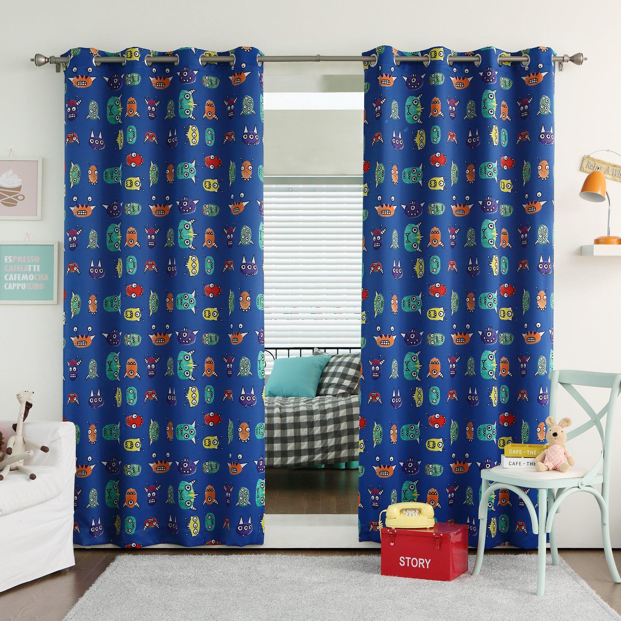 Best Home Fashion Room Darkening Monster Print Curtains - Stainless Steel Nickel Grommet Top - Royal Blue - 52''W x 63''L - (Set of 2 Panels)
