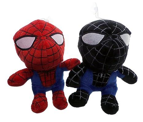 2 x juego de monstruos de peluche color negro/color blanco y rojo niños del hombre araña del bebé plataforma con ruedas para ...