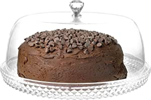 12 Inch Clear Food-Grade Acrylic Diamond Pattern Server Cake Dessert Platter with Cloche Bell Cover