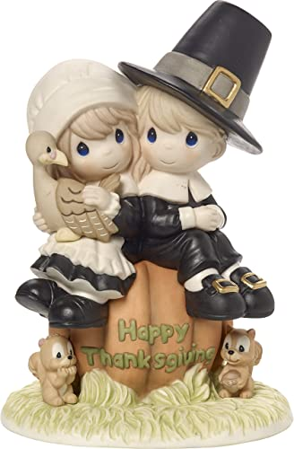 Precious Moments I Give Thanks Every Day For You Pilgrim Thanksgiving Couple Limited Edition Bisque Porcelain Figurine 179014
