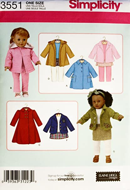 Amazon Com Simplicity 3551 Pattern 18 Doll Fits American Girl Doll