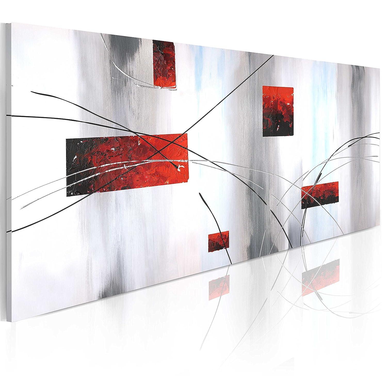 Murando handgemalte Bilder Bilder Bilder 100x40cm Gemälde 1 tlg grau rot weiß 0101-11 f60771