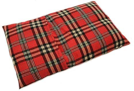 Saco térmico con semillas de trigo y lavanda.Tiene funda lavable (Escoces rojo)