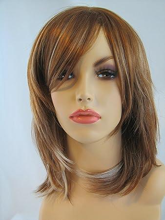 Shoulder Length Light Brown Blonde Face Frame Layered Ladies Wig