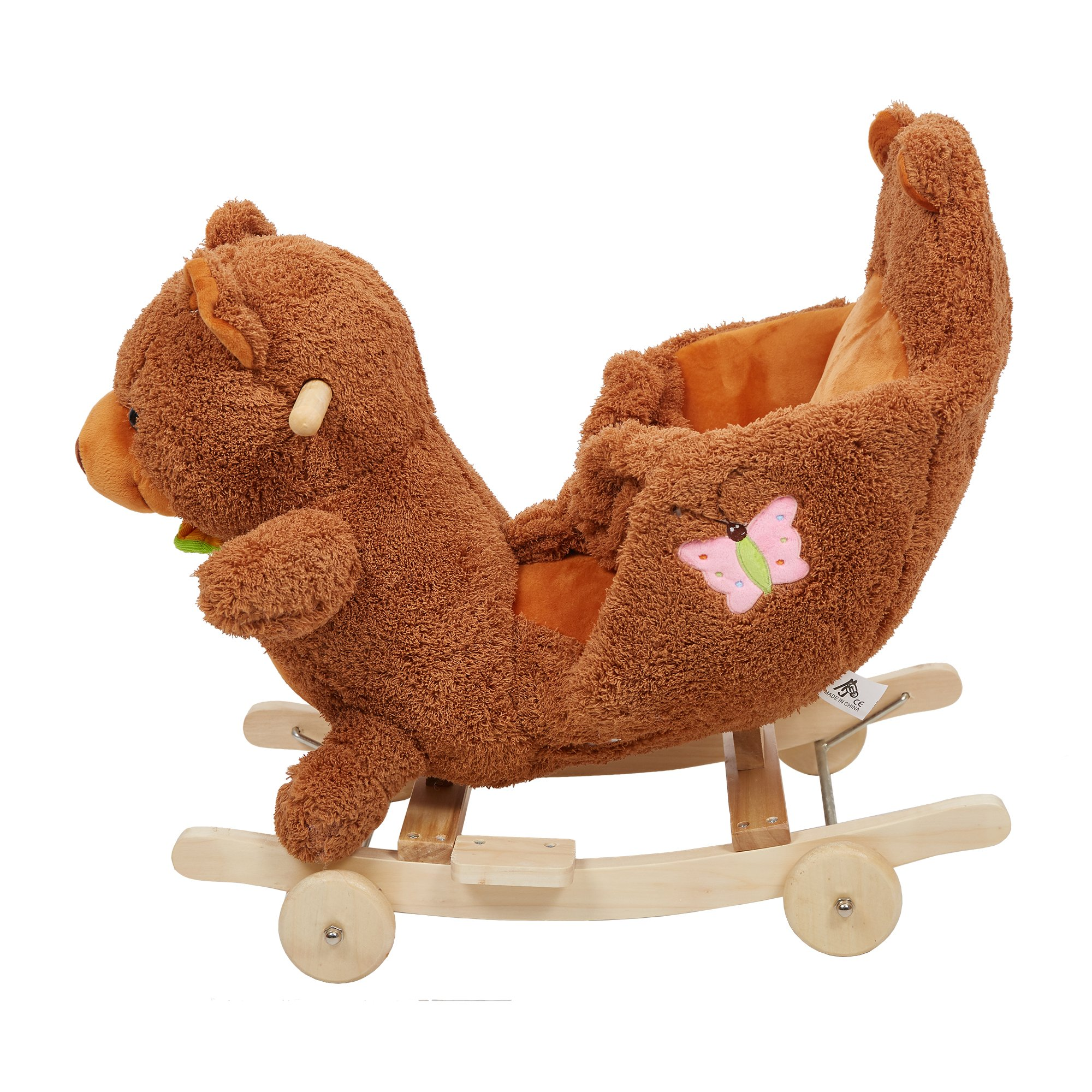 Lucky Tree Rocking Horse Wooden Riding Toys Plush Brown Bear Ride on Toy with Wheels for kids 18 Months-4 Years,Bear by Lucky Tree (Image #3)