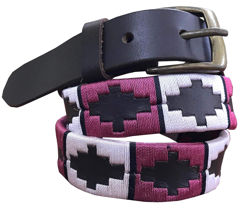 CARLOS DIAZ Jungen M/ädchen Kids Kinder Unisex Argentinischen Braun Leder Bestickte Polo G/ürtel