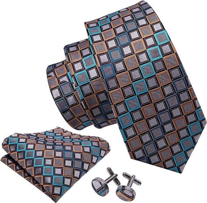 NEW Blue Plaids Mens Tie Set Novelty Silk Necktie Hanky Cufflinks Party Wedding