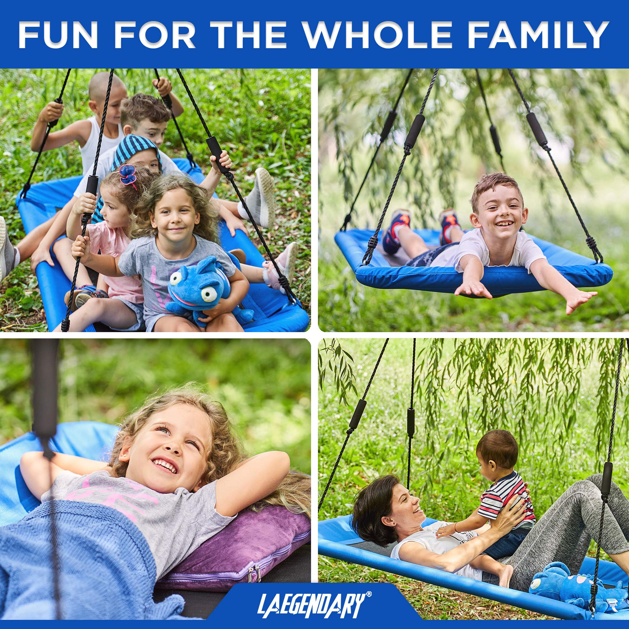 60'' Giant Platform Tree Swing for Kids and Adults | Flying Outdoor Indoor Saucer Hammock | Surf Tire Swingset Accessories Toys | 2 Tree Straps, 2 Carabiners, 1 Swivel | 600 Lb Capacity Yard Swings Set by LÆGENDARY (Image #3)