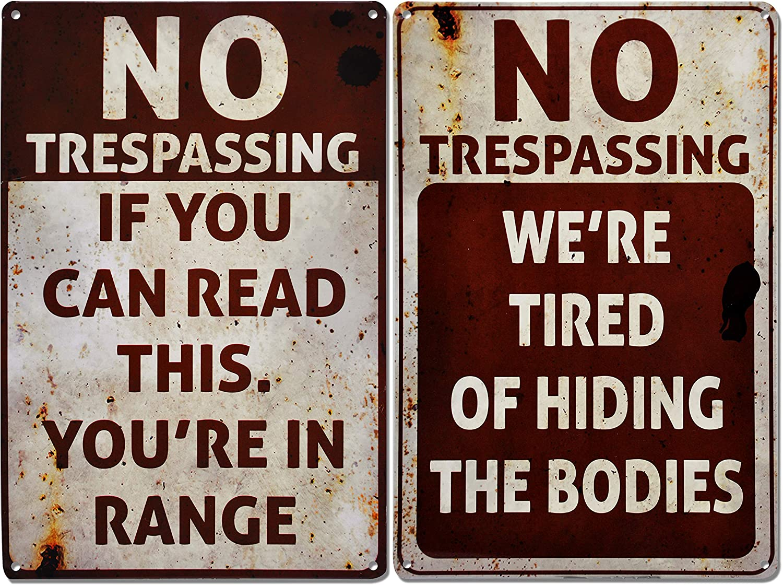 JOYIN 2 PCS Halloween Signs, No Trespassing, Funny Metal Tin Sign for Halloween Decorations, Creepy Home Decor