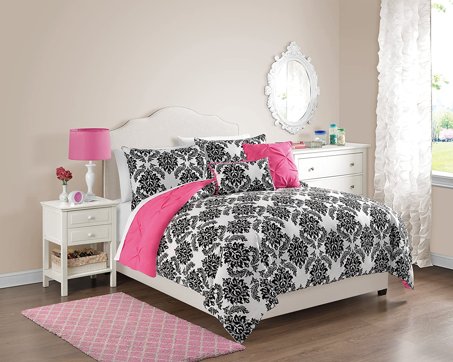 VCNY 5 Piece Olivia Reversible Comforter Set, Full/Queen, Hot Pink