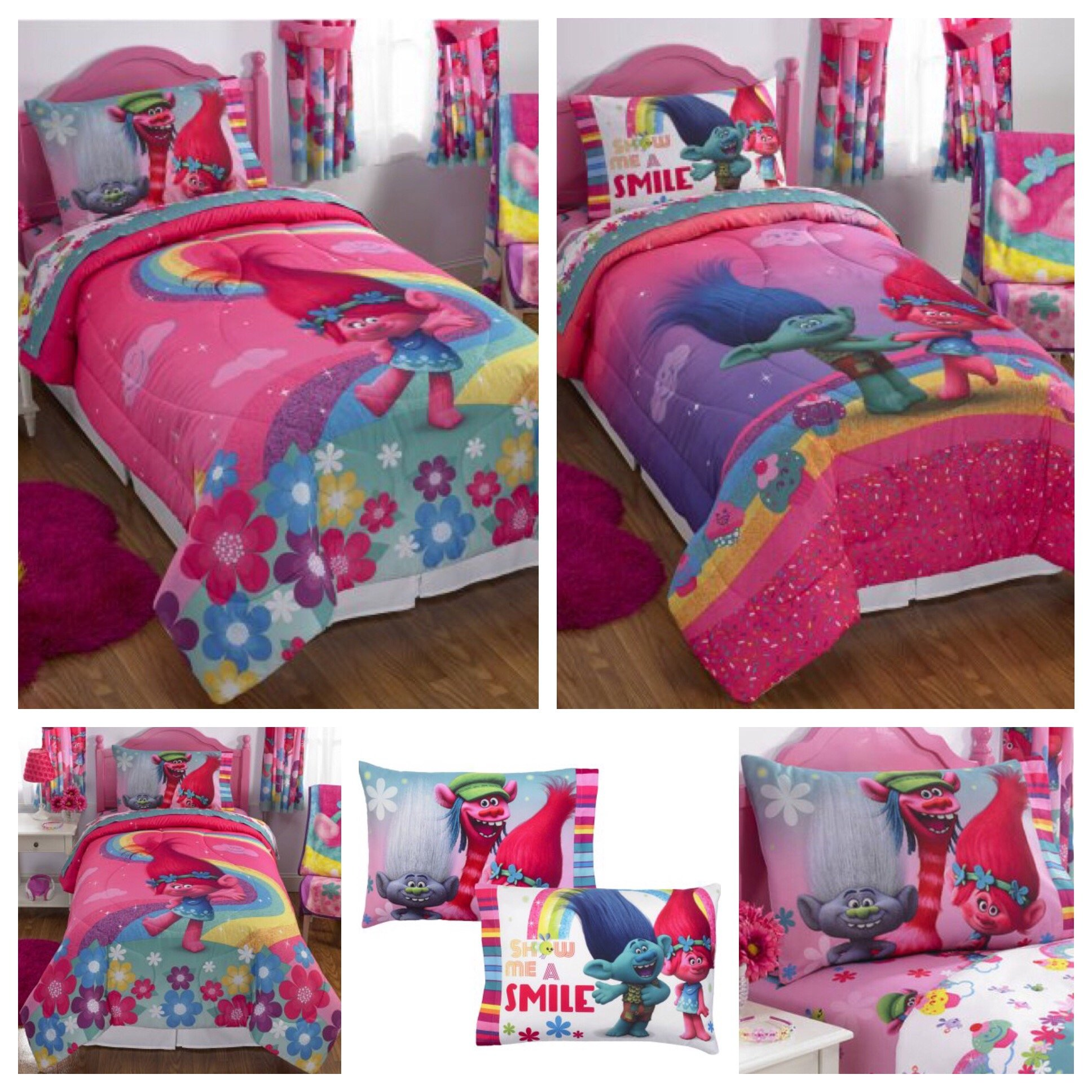 DreamWorks Trolls Complete 4 Piece Girls Comforter Set - Twin