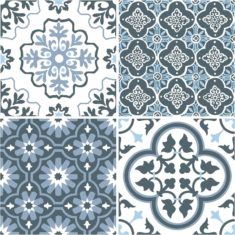 Azulejos de suelo autoadhesivos WallPops FP2951 Leyton color azul
