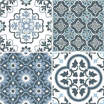 wallpops fp2951 leyton peel stick floor tiles bodenfliesen blau