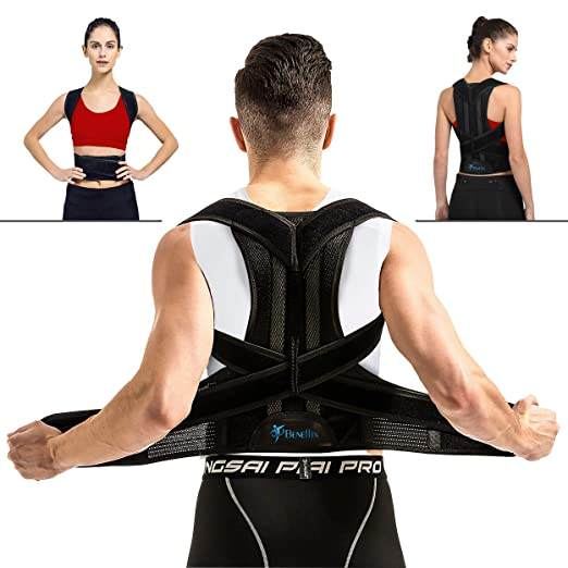 "Breathable Back Support Brace - Back Support Vest for Women and Men - Straighten and Correct Posture - Upper Shoulder Corrector(27.5""-31.44"" Waist) best men's posture corrector"