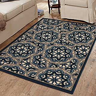 product image for Orian Plated Area Rug, 5' x 7', Dark Blue