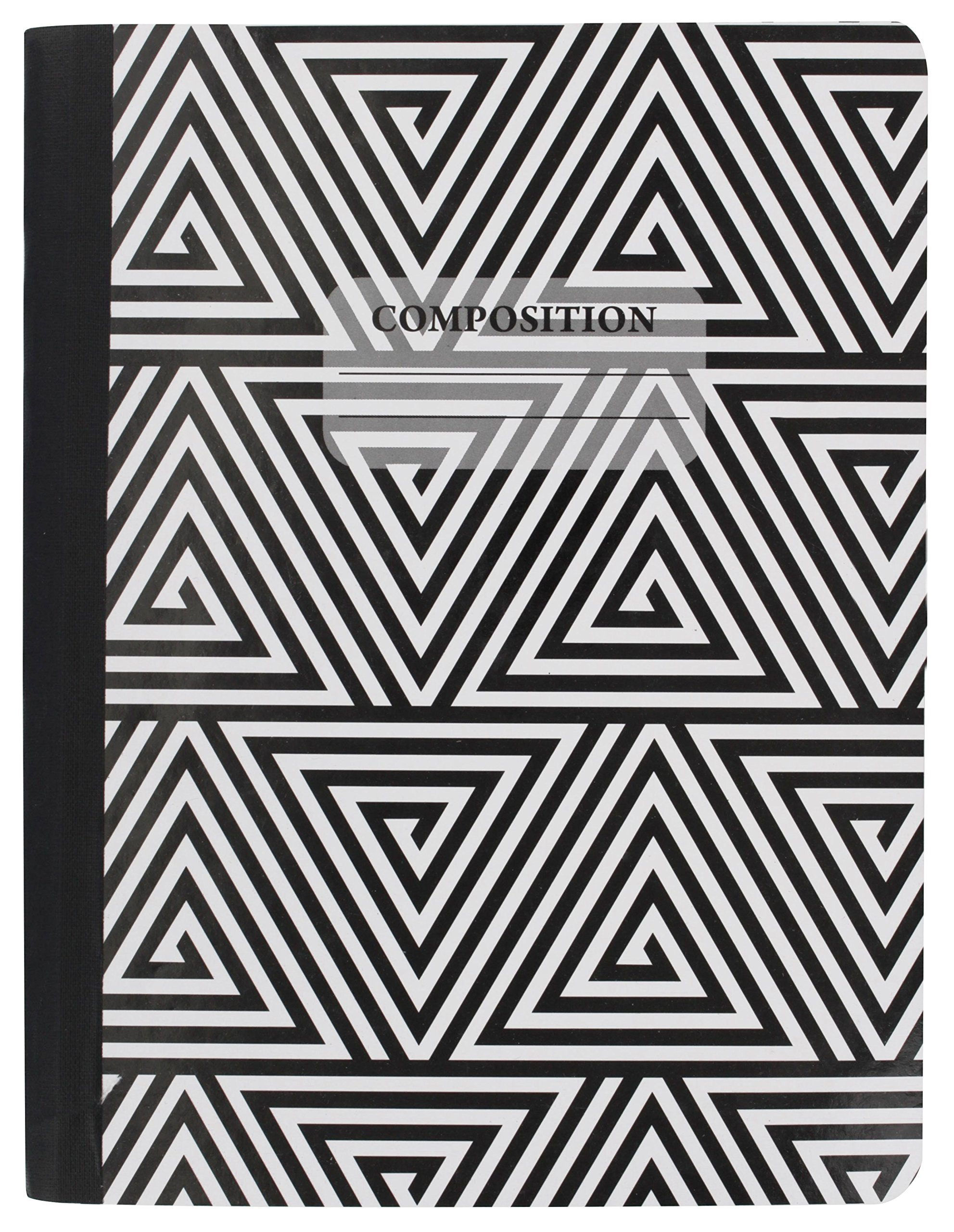 Emraw Black & White 4 Fashion Styles Cover Composition Book with 100 Sheets of Wide Ruled White Paper - Set Includes All Style Covers (4 Pack) by Emraw (Image #4)
